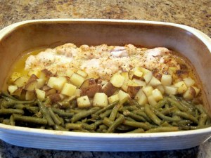 green beans, chicken, and potatoes